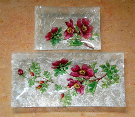tutorial decoupage papel de arroz juego de bandejas con servilleta y papel de arroz