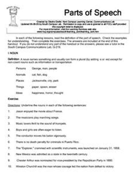 Parts Of Speech Review Worksheets by Parts Of Speech 3rd 4th Grade Worksheet Lesson Planet