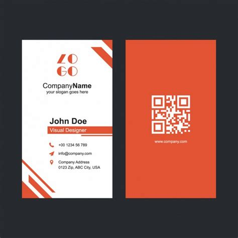 red business card template vector free download