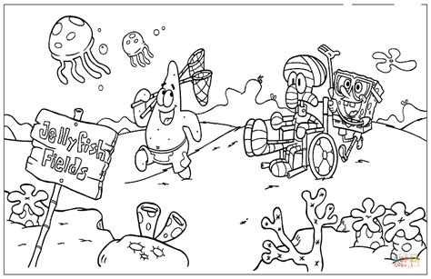 spongebob hockey coloring pages in the jellyfish field coloring page free printable