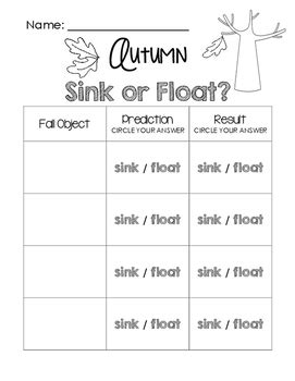 sink or float worksheet autumn sink or float worksheet by learning tpt
