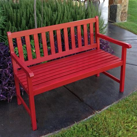red outdoor bench patio garden bench in red vf 4110 rd