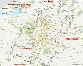 Johannesburg South Africa Map by Midrand Travel Guide Accommodation Tourist Information