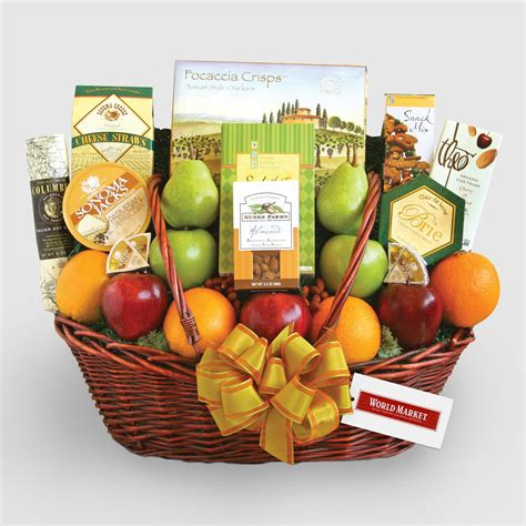 furniture home decor food wine gifts world market share the health gift basket world market