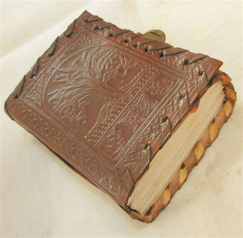 Handmade Leather Embossed Journals - handmade leather pocket journal celtic tree of