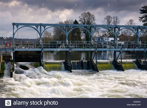 thames river tidal gates sluice gates on the river thames stock photo royalty free