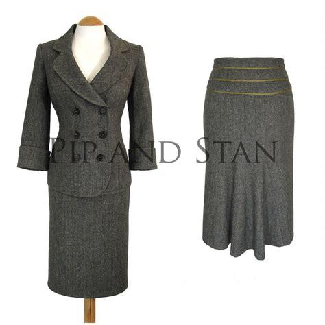 uk10 us6 monsoon size grey wool pencil skirt suit