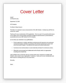 cover letter for resume vitae