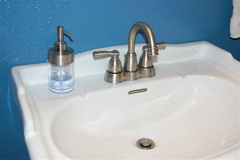 how to remove install a bathroom faucet pedestal sink