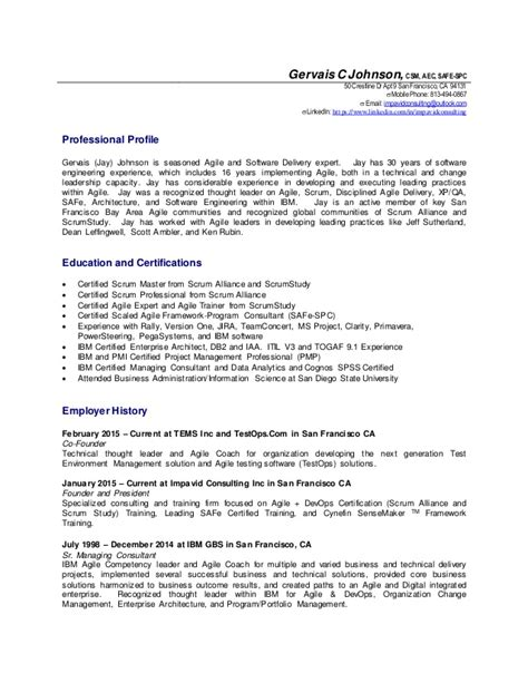 agile project manager resume gervais johnson agile coach details resume