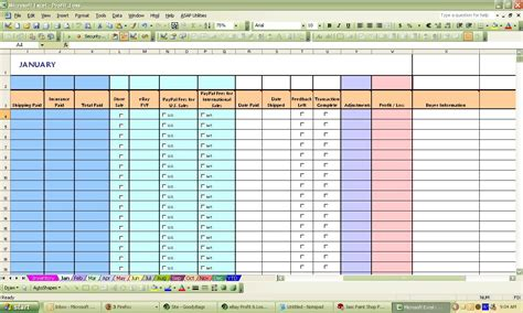 Sle Of Excel Spreadsheet by Ebay Spreadsheet Template Spreadsheet Templates For