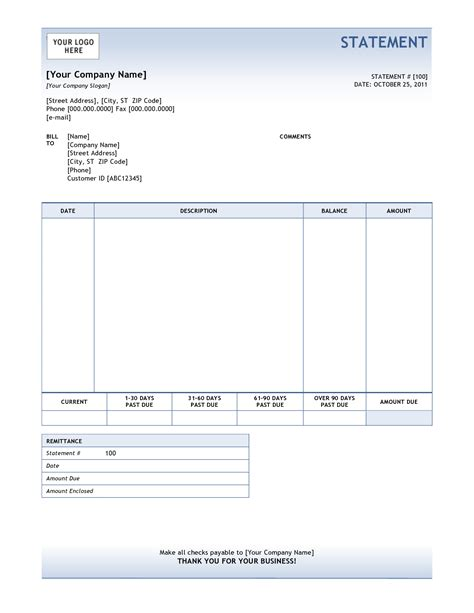billing statement template free bill statement template helloalive