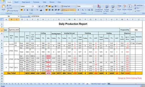 daily production report template xls advanced style production report