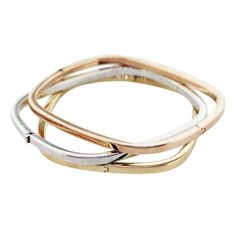 18K Tri Color Gold Square Bangle Bracelet Set  Boca Raton