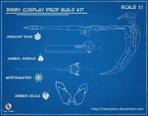 making blueprints rwby cosplay prop build kit updated by tatsutetsu on deviantart