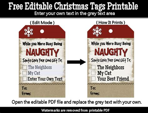 printable christmas tags funny while you were busy being naughty santa gave your good
