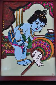 Glass Painting Krishna Outline by Savs Handmade Corner Krishna Glass Painting