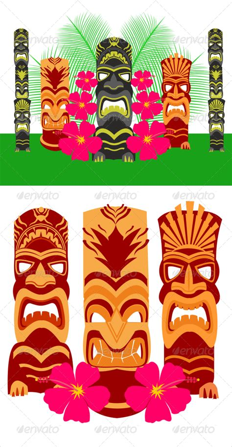 hawaiian pattern cdr tiki statues set by defilemorality graphicriver