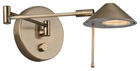 Lite Source Antique Brass Dimmable Halogen Plug In Swing