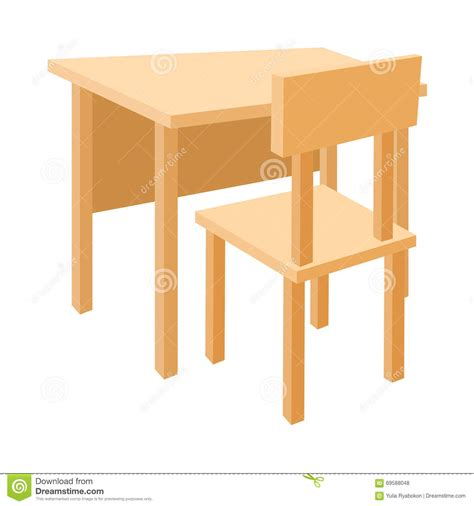 white school desk wooden school desk and chair icon style stock