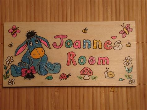 Handmade Door Signs - eeyore handmade wooden personalised childrens bedroom door