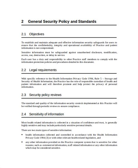 security policy document template security policy template 7 free word pdf document