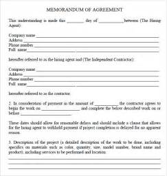 agreement of understanding template memorandum of agreement 7 free sles exles format