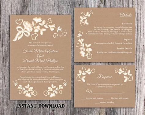 rustic wedding invite template diy lace wedding invitation template set editable word