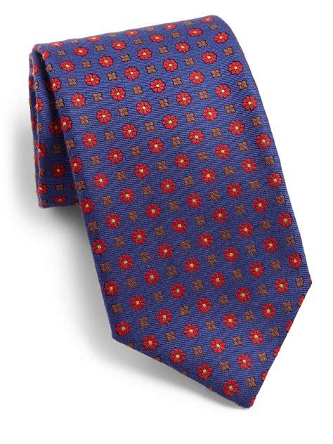 flower pattern tie canali flower pattern silk tie in blue for men lyst