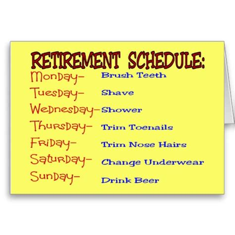 retirement schedule funny retirement gifts greeting card