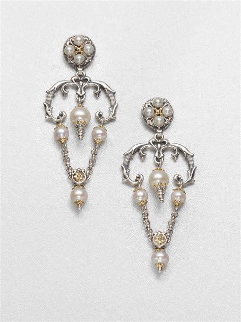 Gold Pearl Chandelier Earrings Konstantino Cultured Pearl Sterling Silver And 18k Yellow Gold Chandelier Earrings In Silver