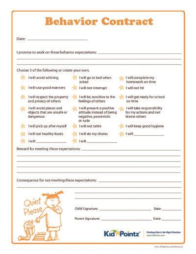 parent child behavior contract template behavior contracts for elementary schoolers kid pointz