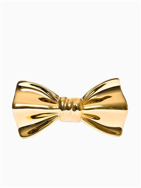 gold bow cor sine labe doli ceramic bow tie in gold for