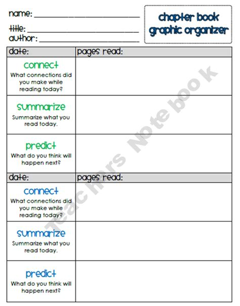 novel notes template writing chapter book summaries includes connect summarize