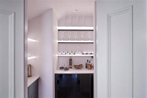 White Shelves With Glossy Black Bar Cabinets