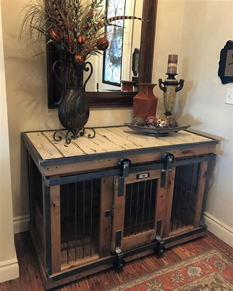 sofa table dog crate farmhouse style single dog kennel by kennel and crate