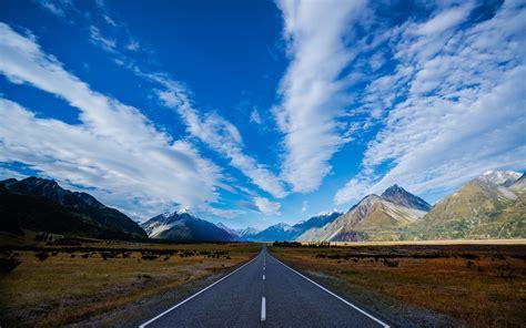 blue wallpaper nz new zealand highway road mountains blue sky white