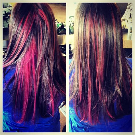 hairstyles and pick a boo color for brunette women over 50 pink peekaboo highlights by erin brooks yelp
