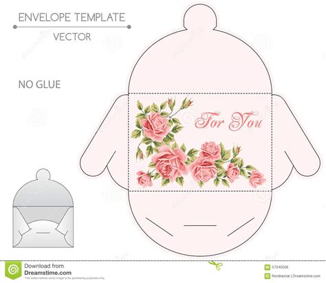 flower envelope card template envelope design die sting stock vector illustration