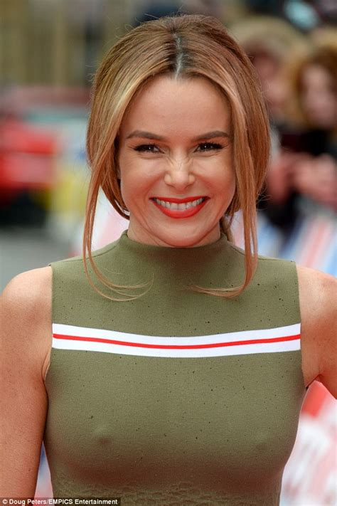 Blouse Big Amanda E britain s got talent s amanda holden braless in khaki dress at auditions in birmingham daily