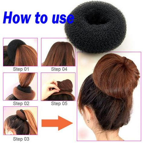 how to use a bun builder women girl sponge hair styling bun maker ring donut shaper