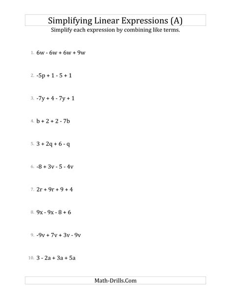 Simplifying Algebraic Expressions Worksheets Pdf by 7th Grade Simplifying Algebraic Expressions Worksheets