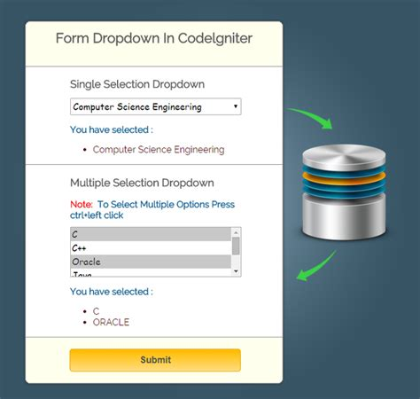 ci database tutorial codeigniter form dropdown insert and read using database