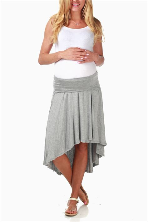 grey hi low maternity skirt