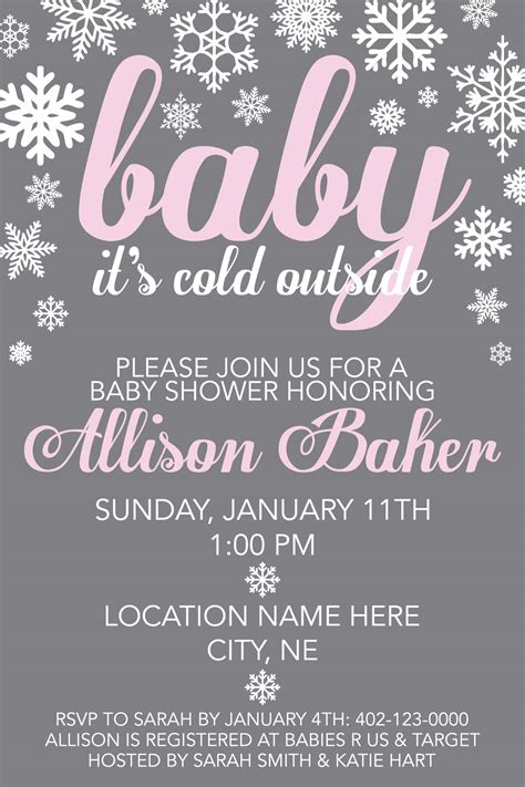 Baby Shower Invites Announcements More Jojo S Designs Baby It S Cold Outside Invitation Template