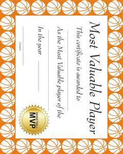 Basketball Mvp Certificate Template by Basketball Certificate