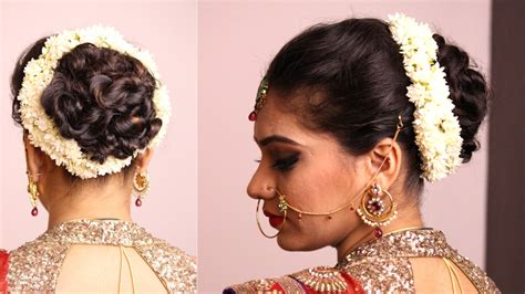 Wedding Hair Buns Indian Style by Hairstyle Twisted Bun With Gajara Bridal Hairstyle