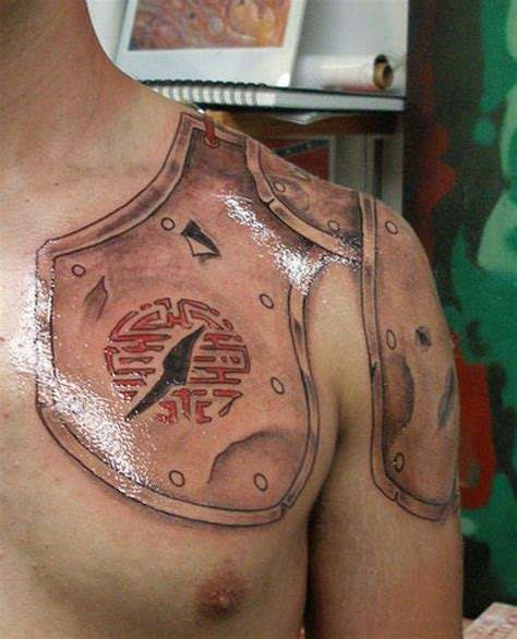 chest plate tattoos for men shoulder and chest armor another