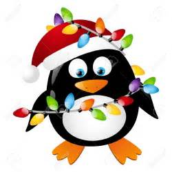 penguin with christmas light bulbs royalty free cliparts