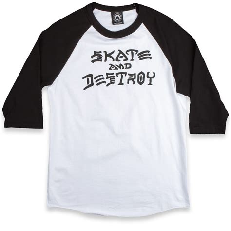 Kaos Thrasher Thrasher Tees Thrasher Tshirt Thrasher 6 thrasher skate and destroy raglan t shirt white black